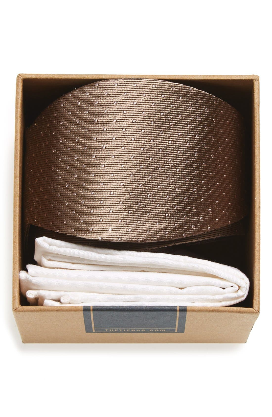 THE TIE BAR Dot Silk Bow Tie & Cotton Pocket Square Style Box