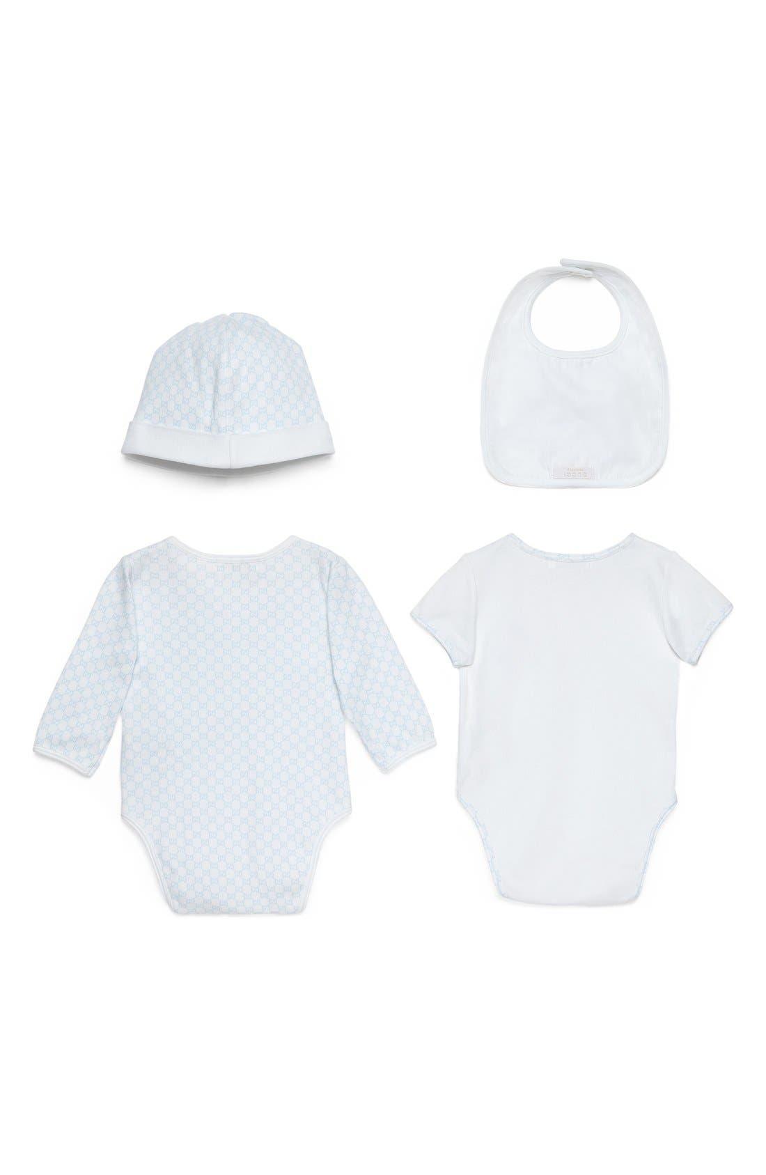 Alternate Image 2  - Gucci Short Sleeve Bodysuit, Long Sleeve Bodysuit, Hat & Bib Set (Baby)