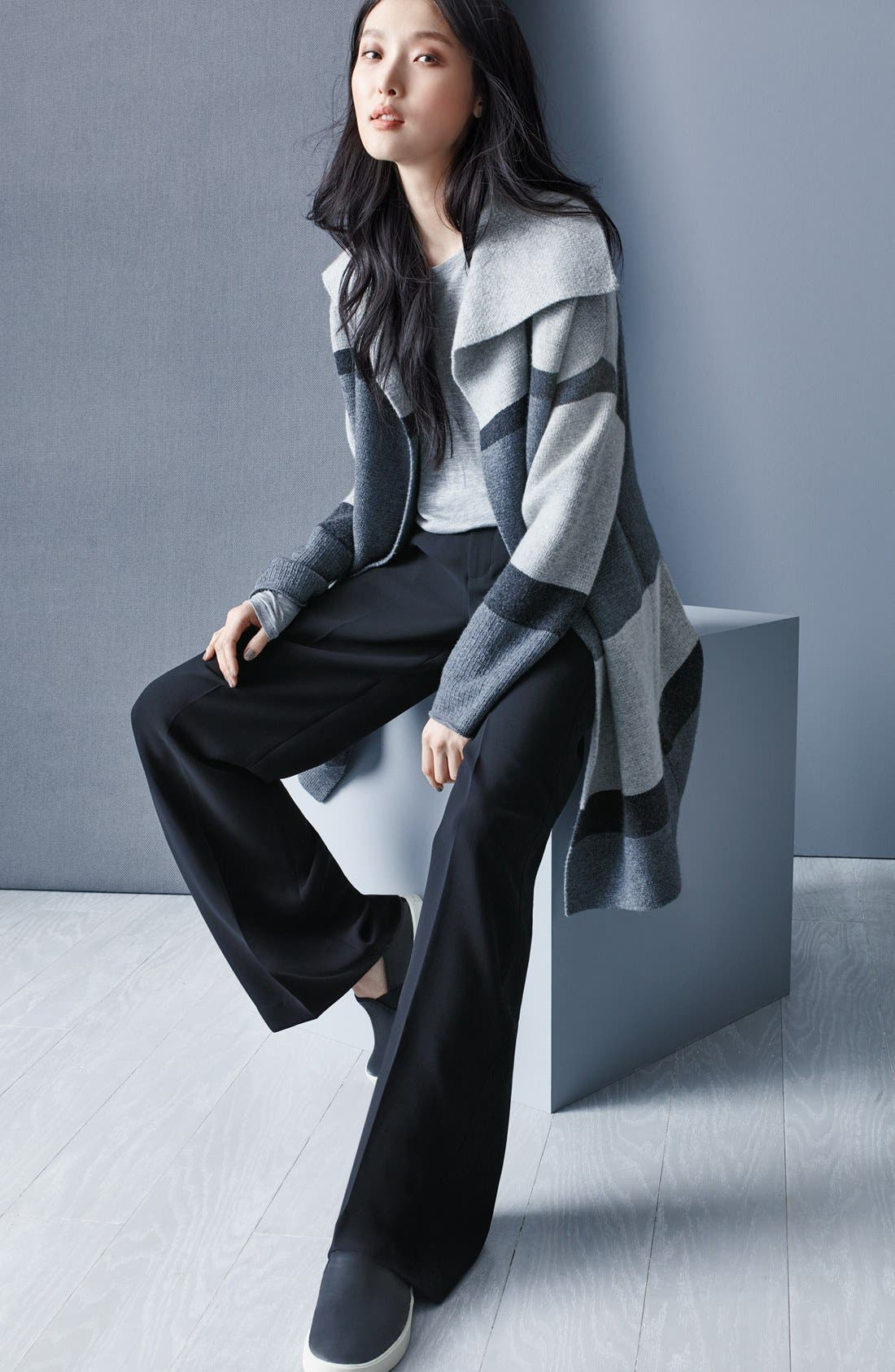 Colorblock Wool & Cashmere Knit Car Coat,                             Alternate thumbnail 8, color,                             Heather Steal/ Stone/ Carbon