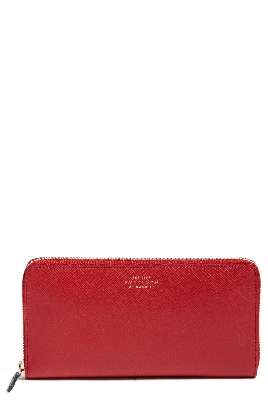 'Large Panama' Zip Around Wallet,                         Main,                         color, Red