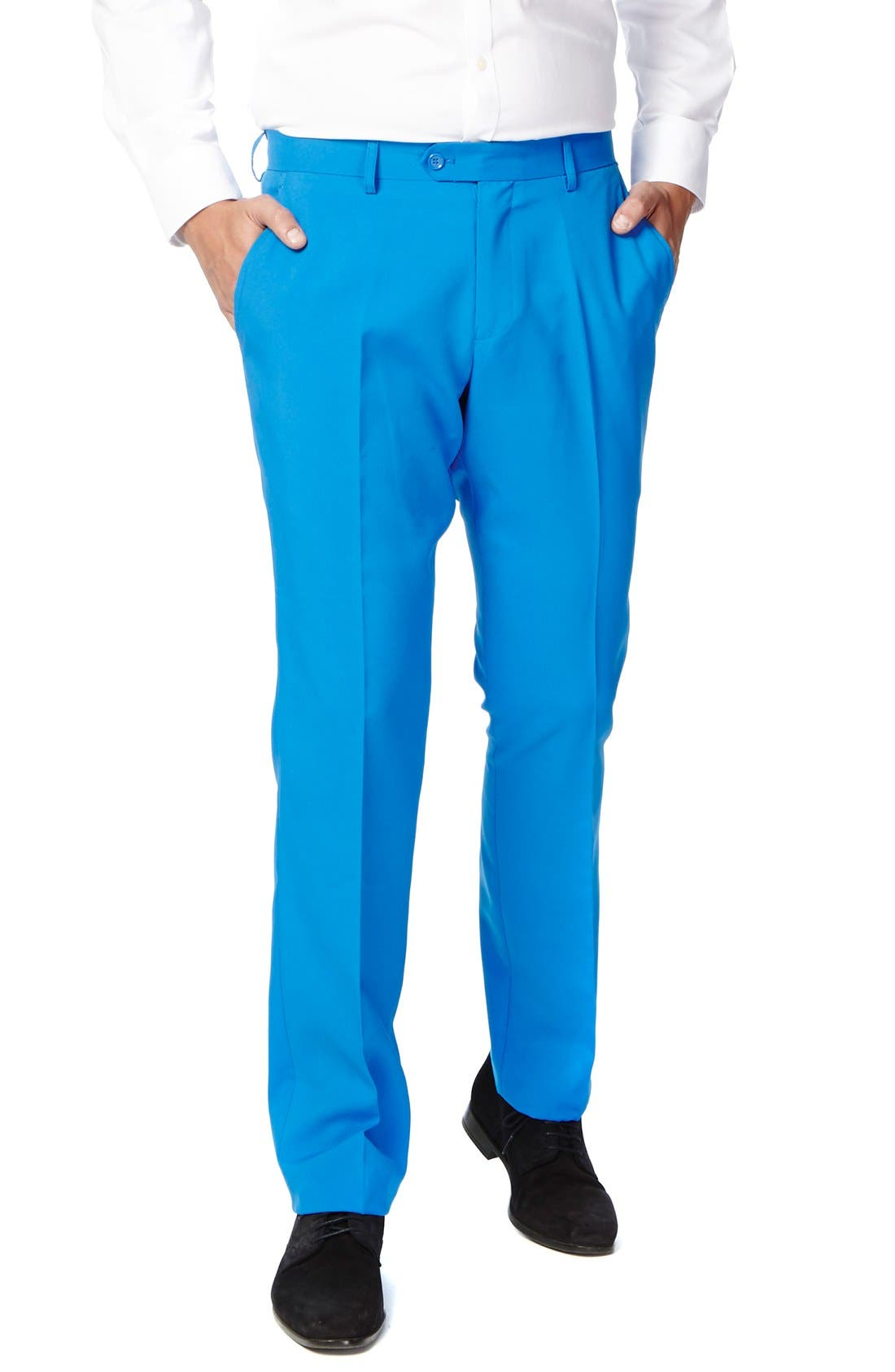 'Stars & Stripes' Trim Fit Suit with Tie,                             Alternate thumbnail 3, color,                             Blue