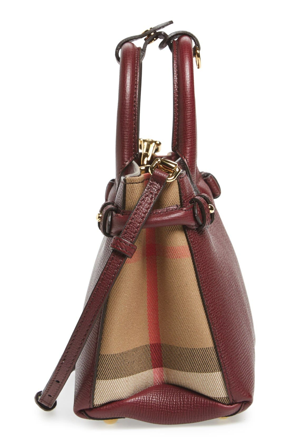 'Mini Banner' House Check Leather Tote,                             Alternate thumbnail 5, color,                             Mahogany Red