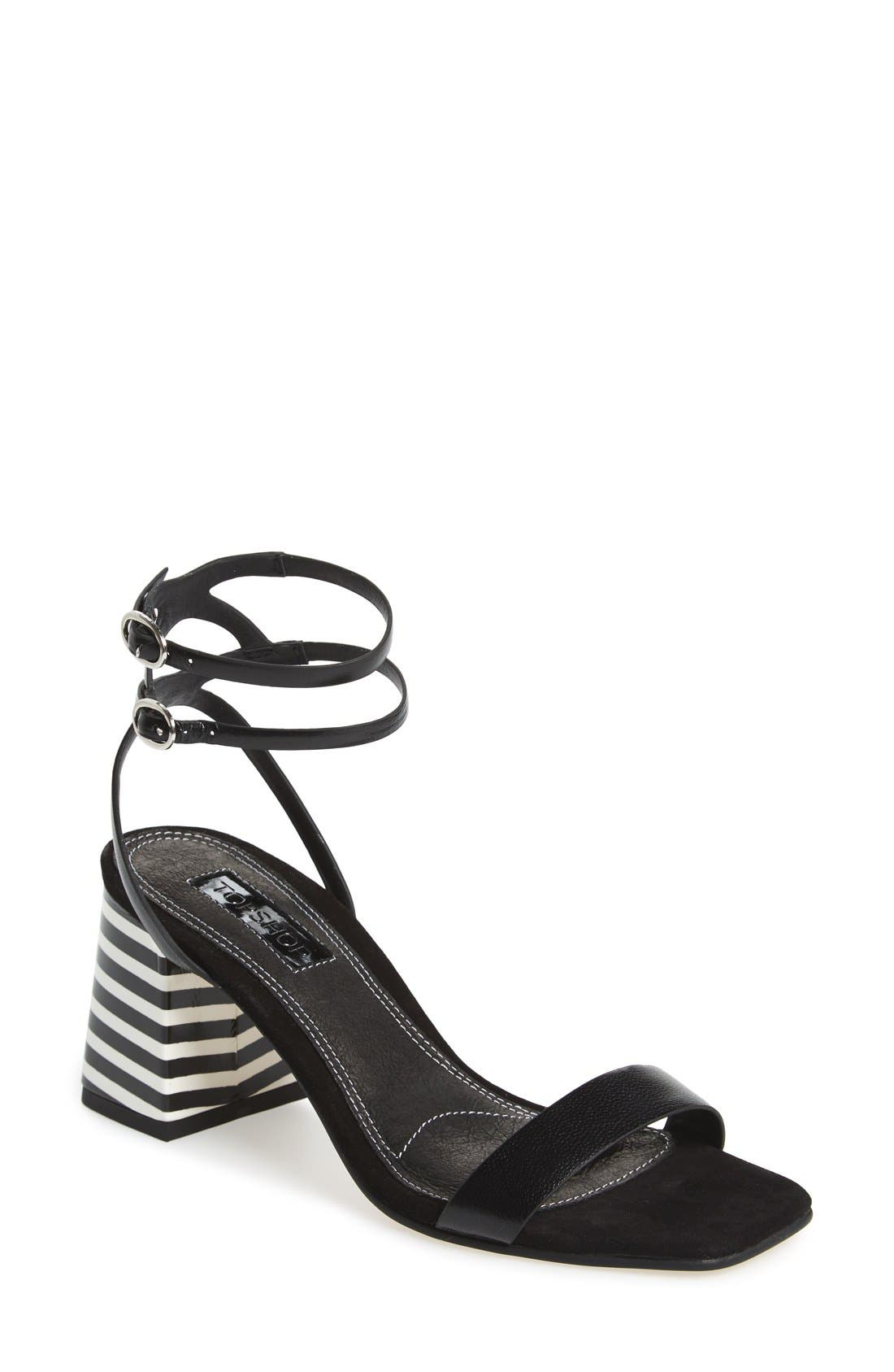Alternate Image 1 Selected - Topshop 'Nipper' Ankle Wrap Sandal (Women)
