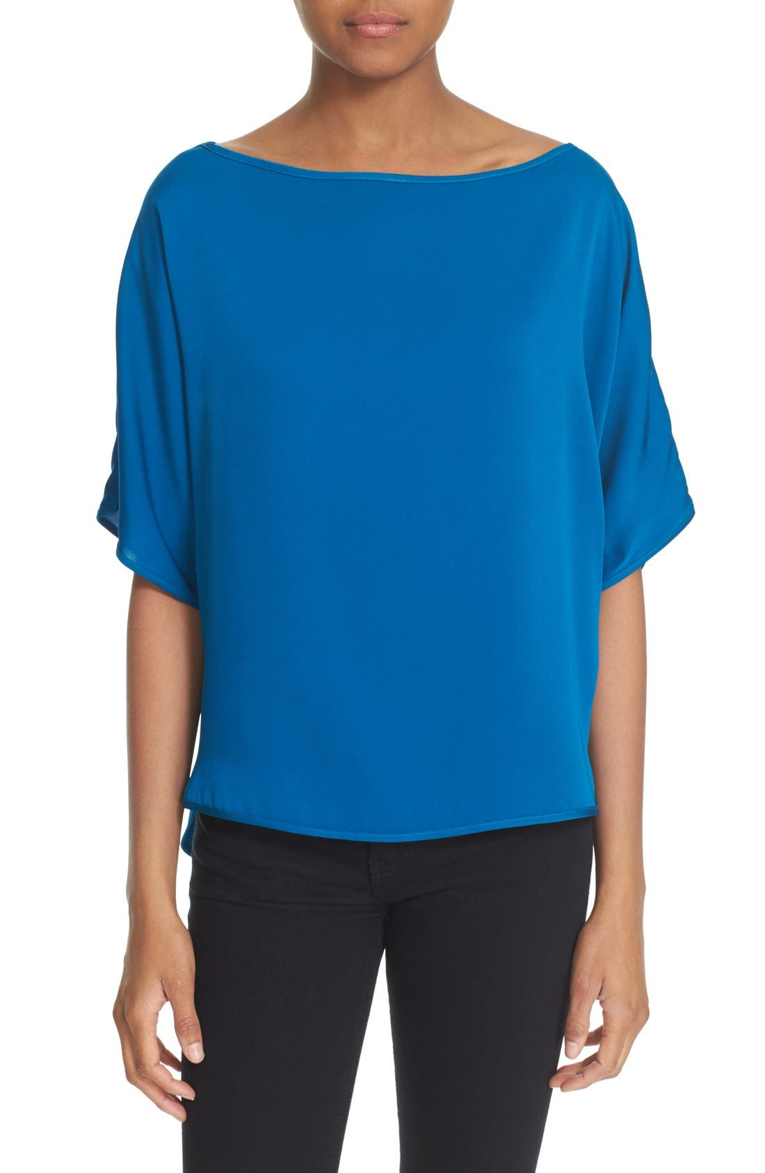 Main Image - Milly Stretch Silk Bateau Tee