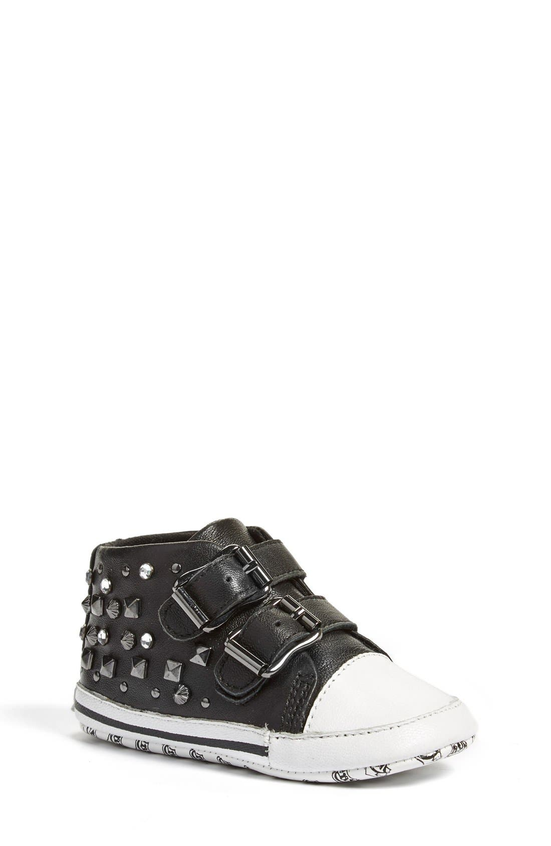 'Viper' High Top Crib Shoe,                             Main thumbnail 1, color,                             Black Leather