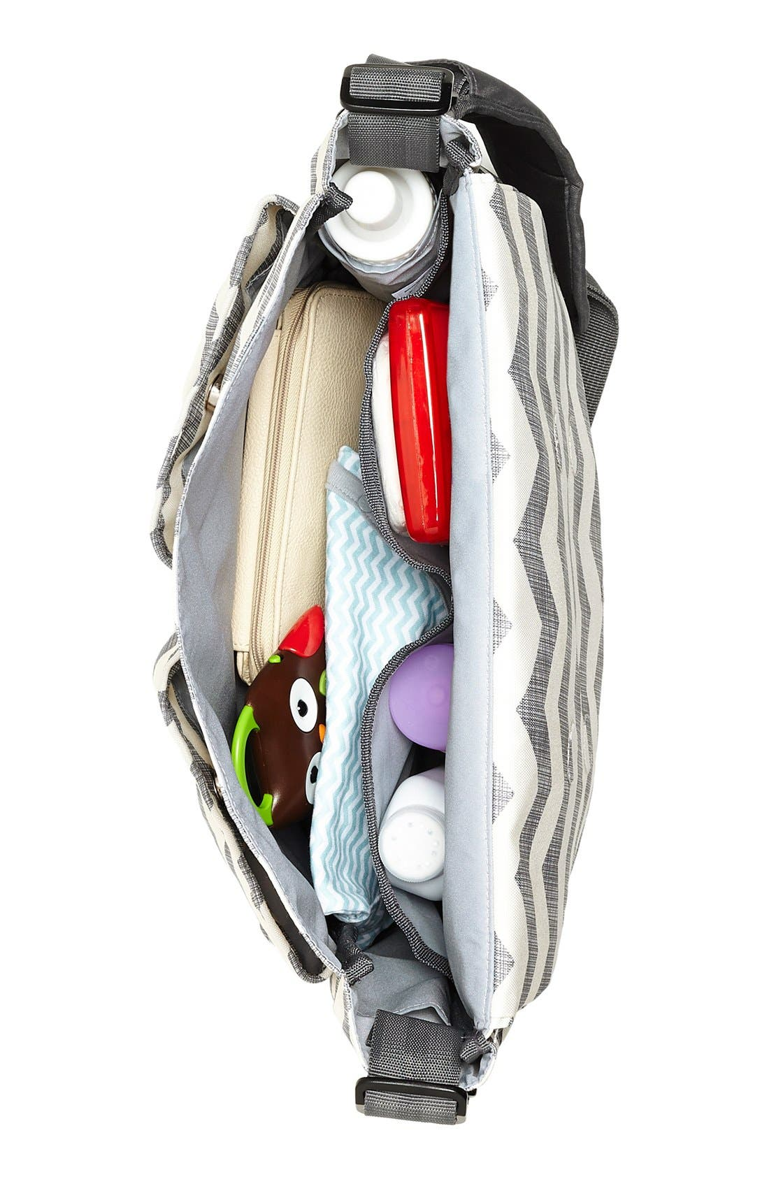 'Dash Signature' Messenger Diaper Bag,                             Alternate thumbnail 2, color,                             Grey