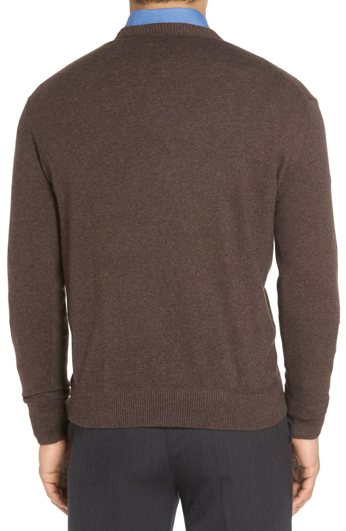 'Jersey Sport' Cotton Blend Crewneck Sweater,                             Alternate thumbnail 2, color,                             Coffee