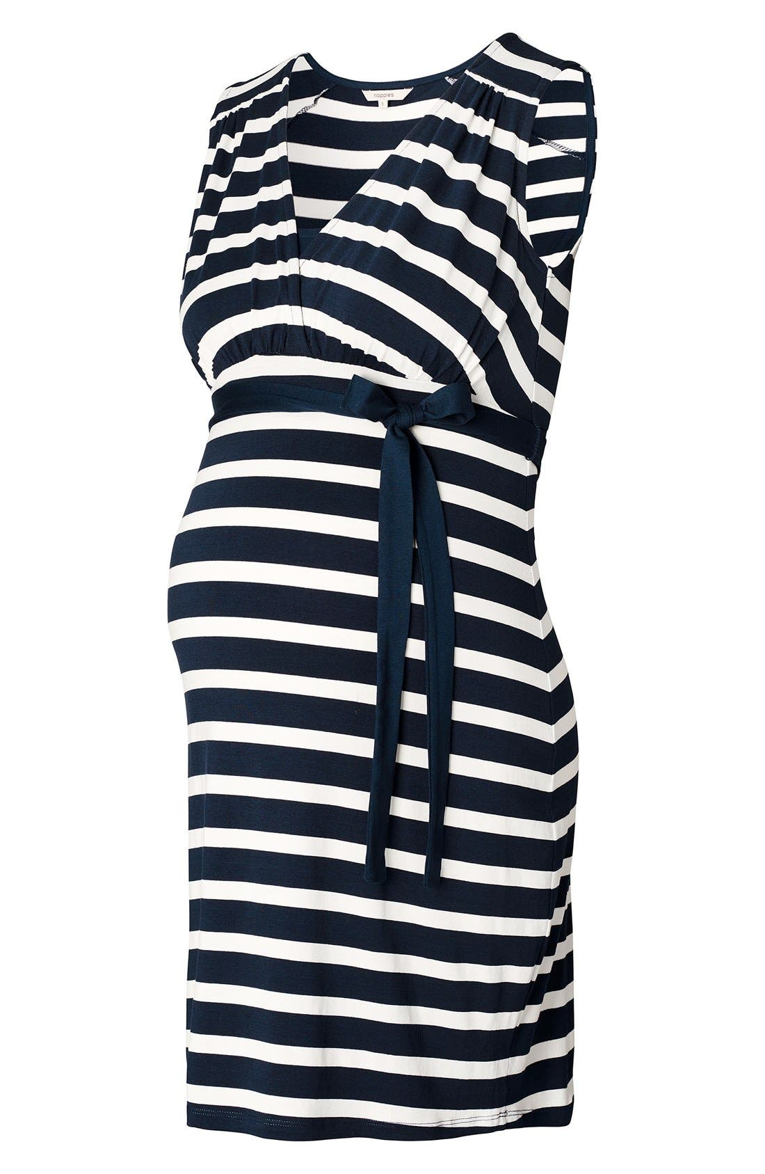 'Lara' Stripe Maternity Dress,                             Alternate thumbnail 2, color,                             Dark Blue