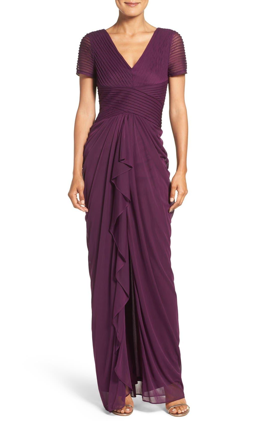 Adrianna Papell Draped Mesh Gown (Regular & Petite)
