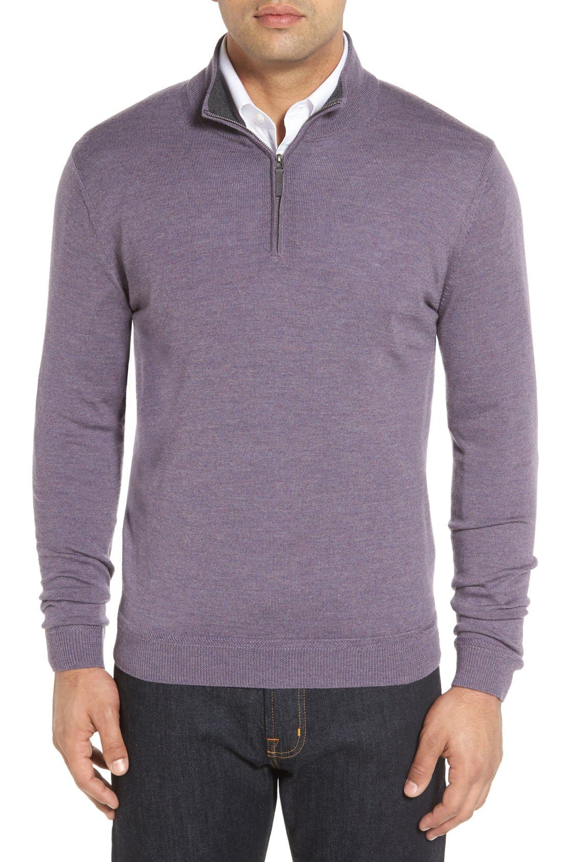 Alternate Image 1 Selected - John W. Nordstrom® Merino Wool Quarter Zip Sweater