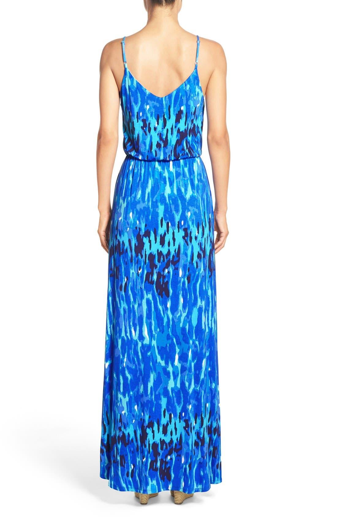Jersey Faux Wrap Dress,                             Alternate thumbnail 3, color,                             Blue Print