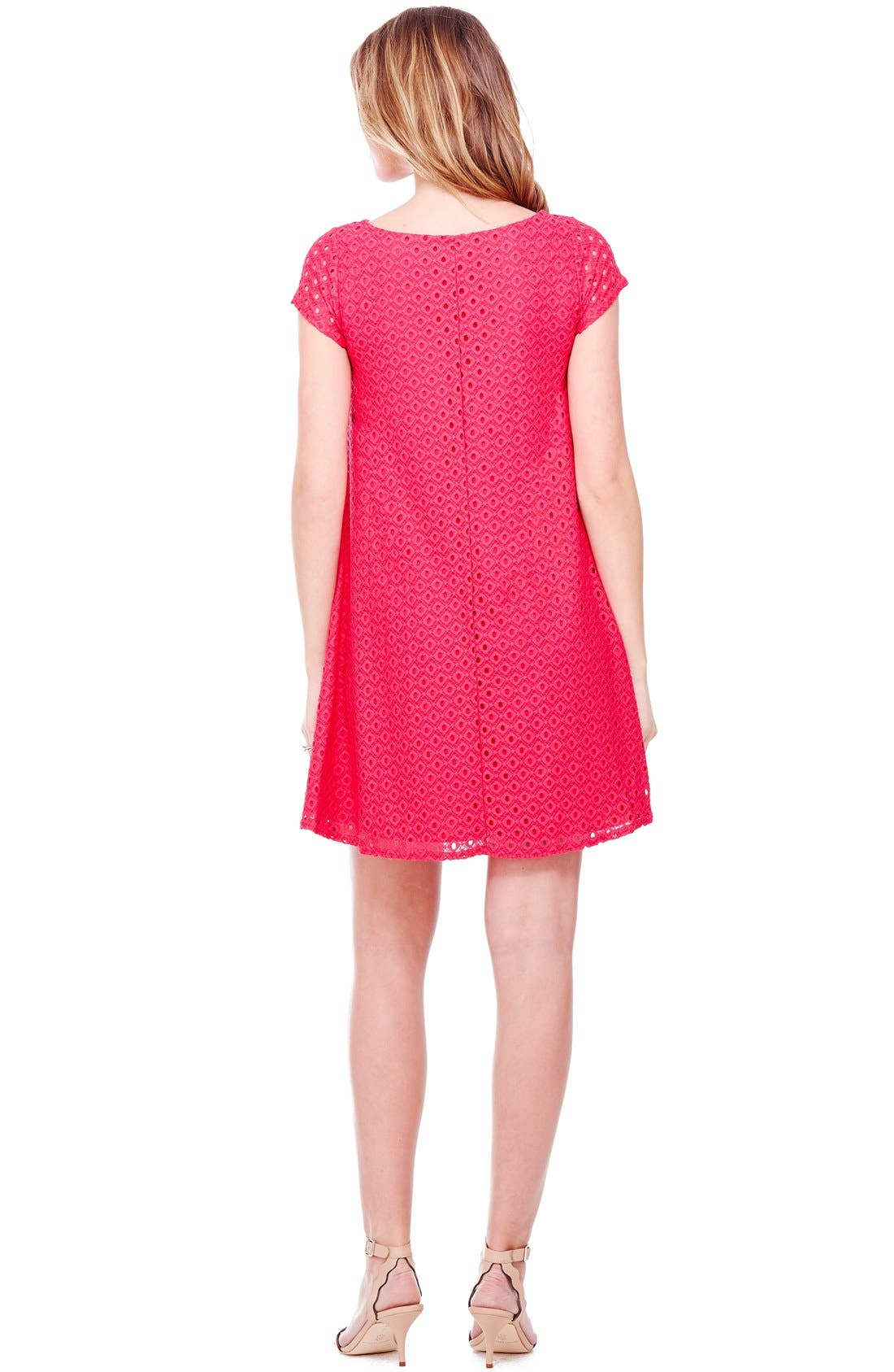 Ingrid & Isabel Lace Shift Maternity Dress,                             Alternate thumbnail 2, color,                             Berry