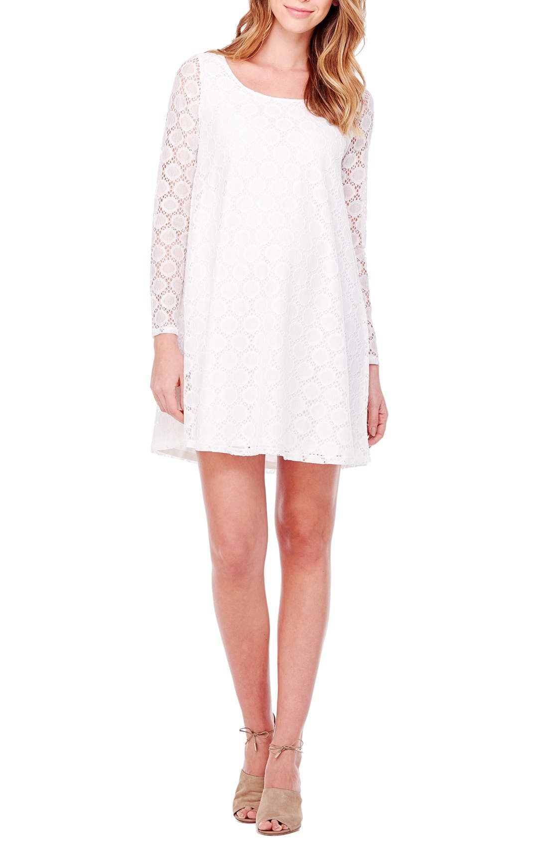 Ingrid & Isabel Dot Lace Maternity Dress,                         Main,                         color, Bright White