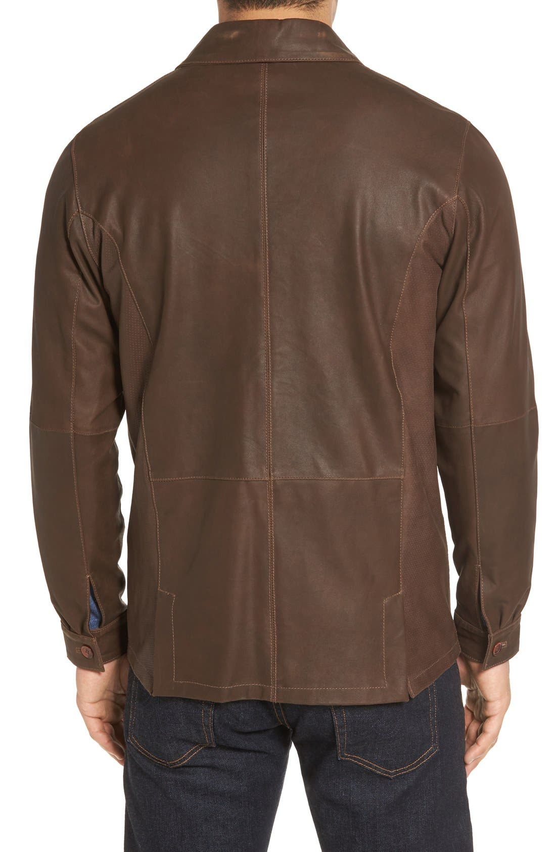 Unlined Leather Jacket,                             Alternate thumbnail 2, color,                             Brown