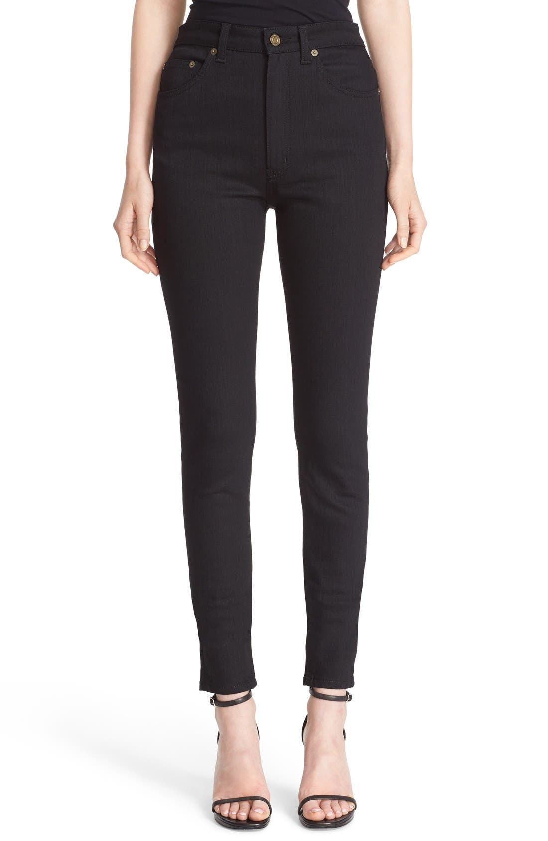 High Rise Skinny Jeans,                             Main thumbnail 1, color,                             Black