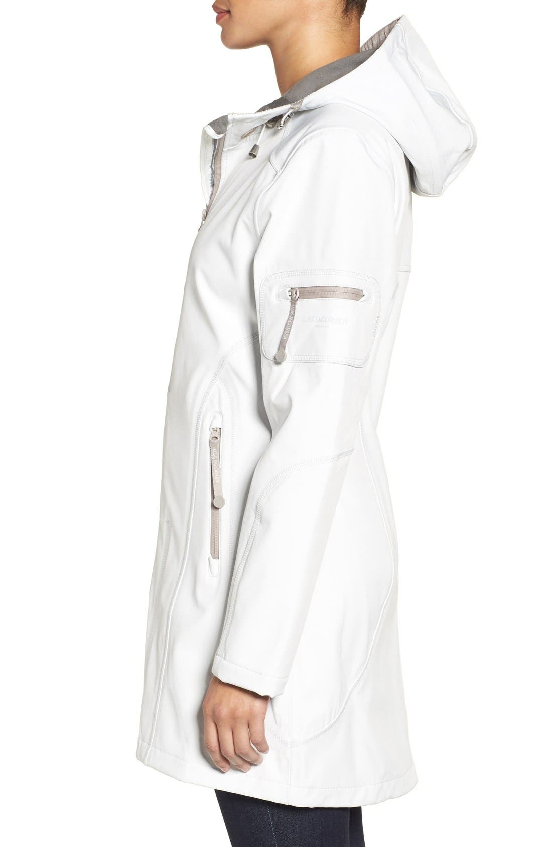 'Rain 7B' Hooded Water Resistant Coat,                             Alternate thumbnail 3, color,                             Creme With Pearl