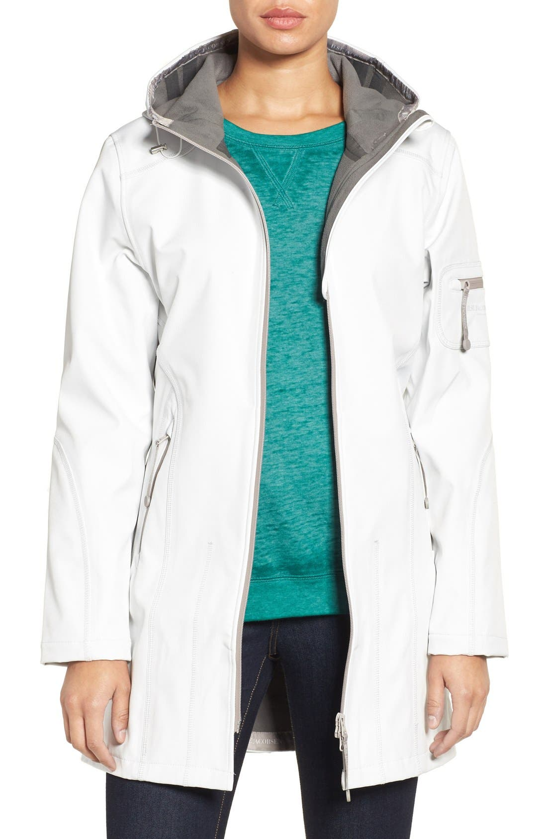 'Rain 7B' Hooded Water Resistant Coat,                         Main,                         color, Creme With Pearl