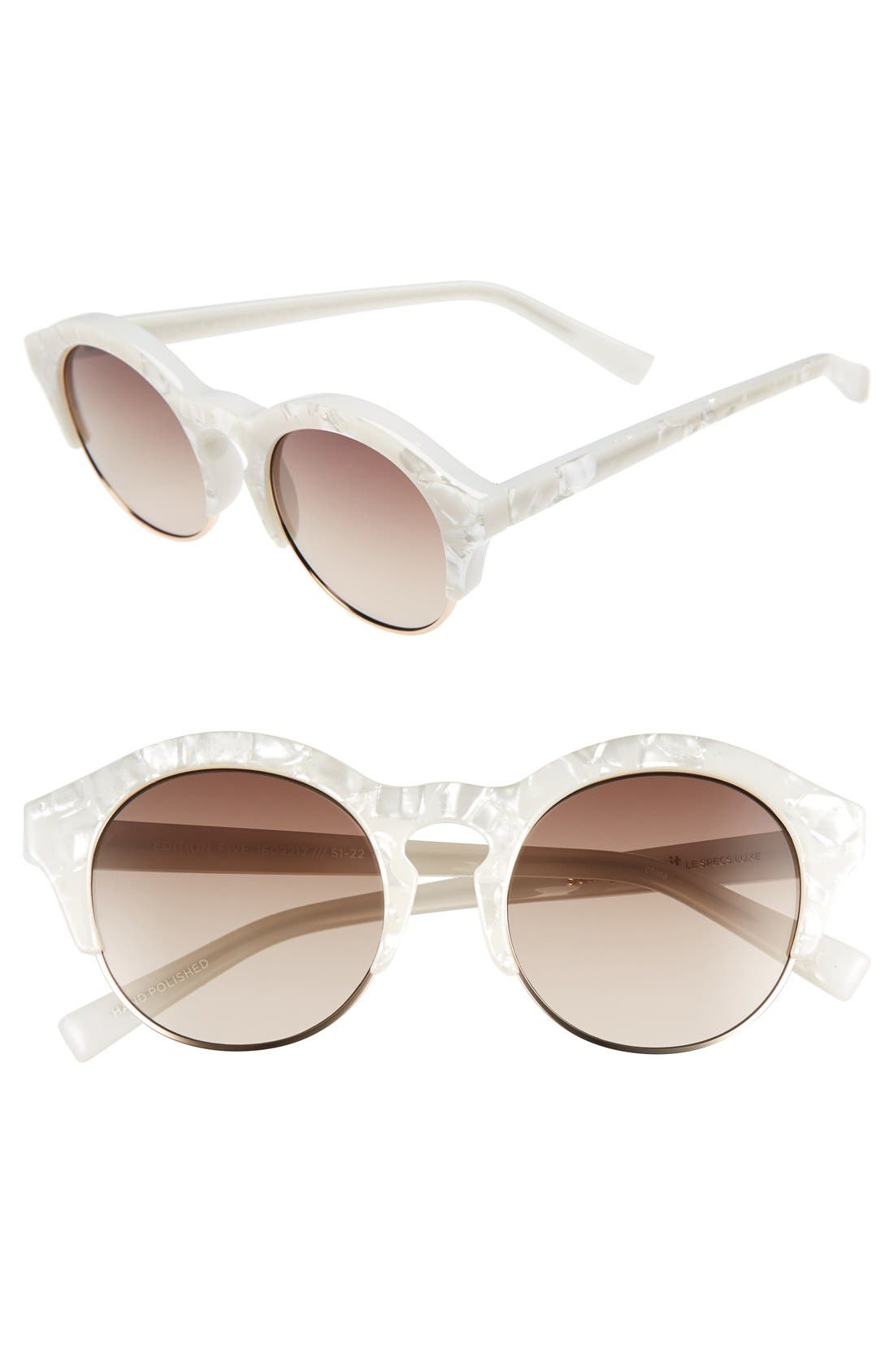 'Edition Five' 51mm Sunglasses,                             Main thumbnail 1, color,                             White Marble/ Gold