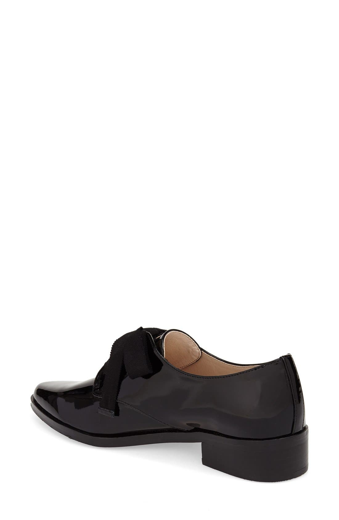 'Adwin' Almond Toe Oxford,                             Alternate thumbnail 2, color,                             Black Patent