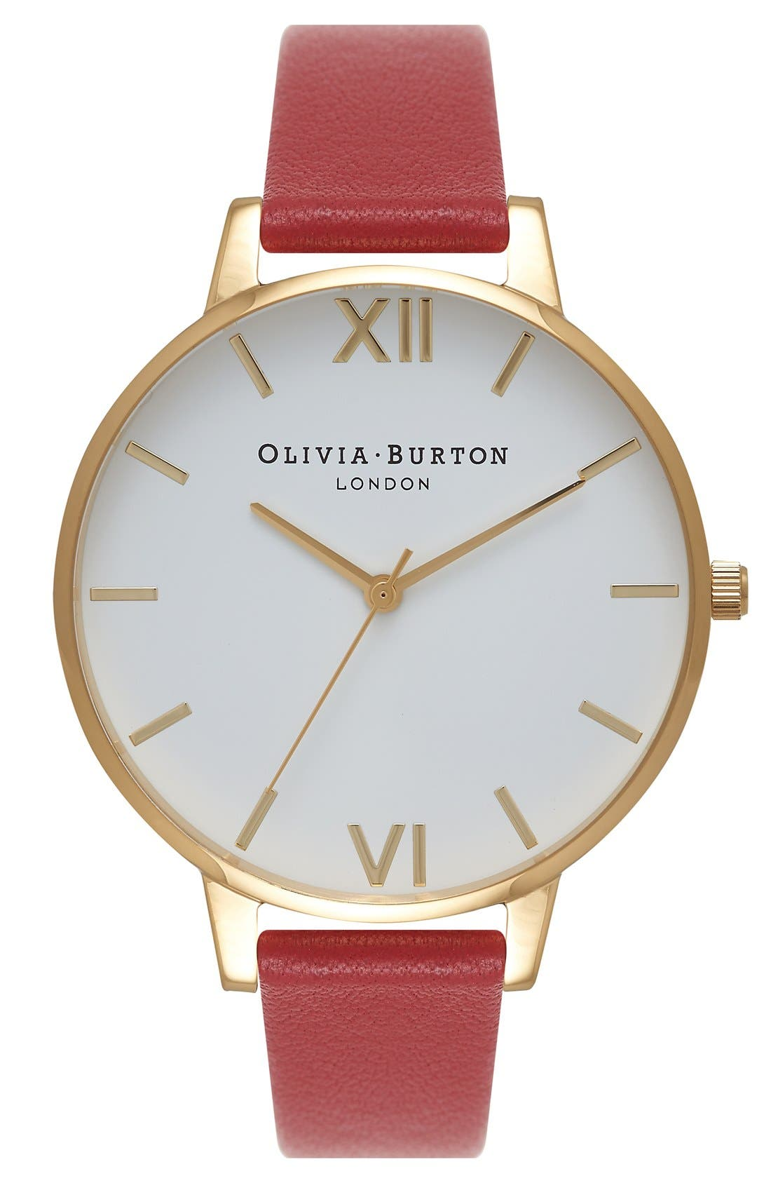Alternate Image 1 Selected - Olivia Burton Big Dial Leather Strap Watch, 38mm