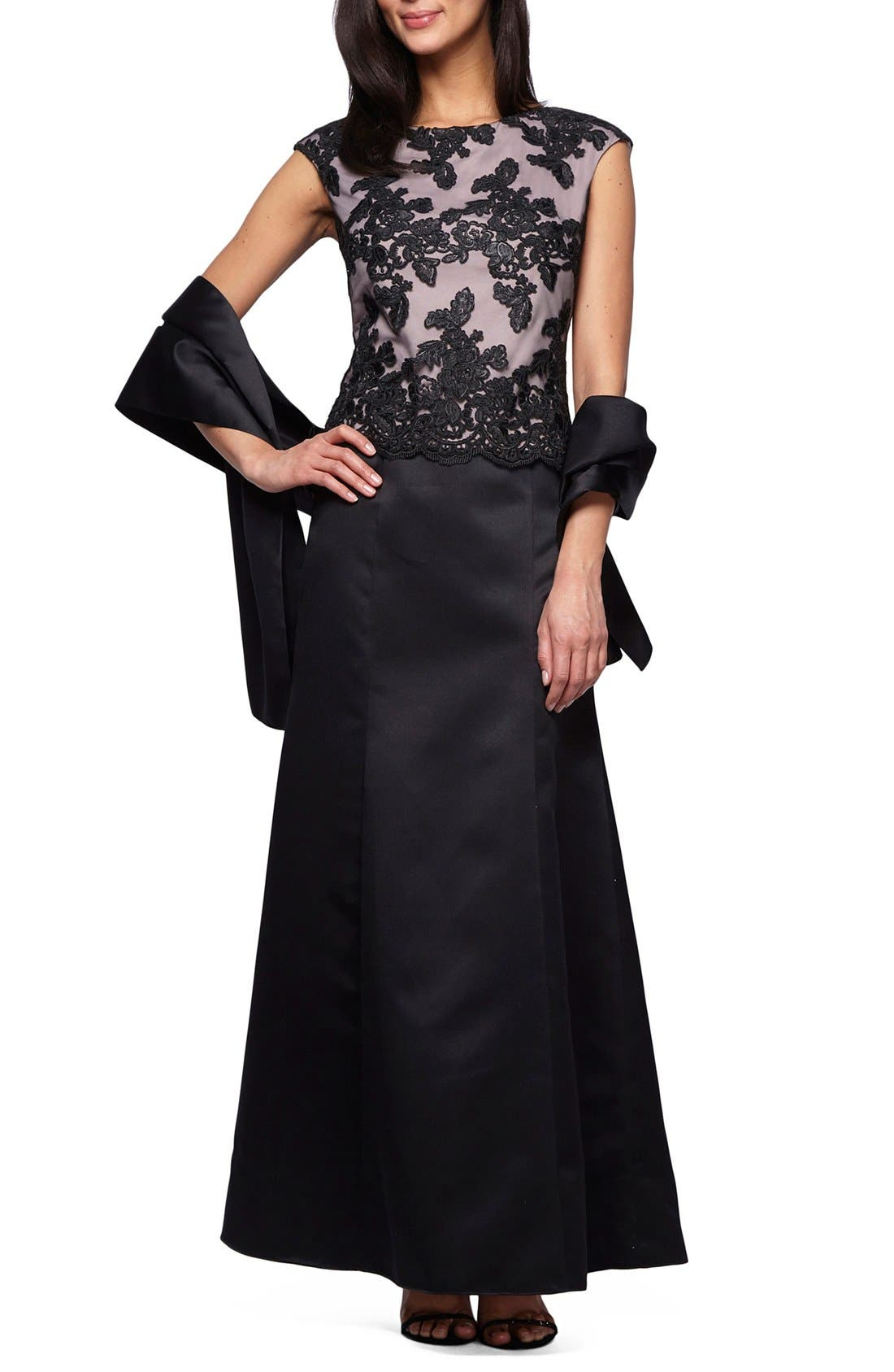 Alternate Image 1 Selected - Alex Evenings Embroidered Bodice Satin Gown & Shawl (Petite)