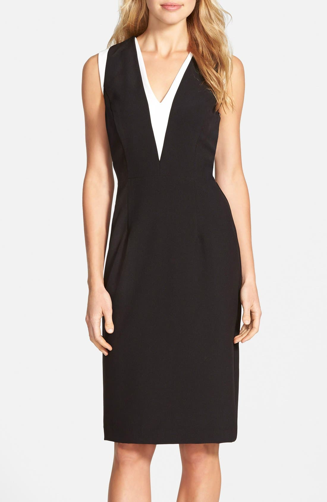 Main Image - Vince Camuto Colorblock Stretch Sheath Dress