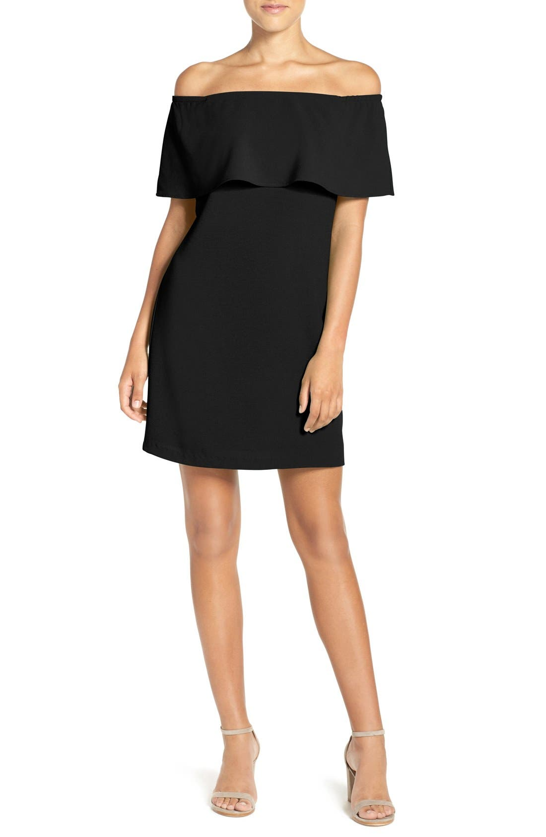 Off the Shoulder Dress,                         Main,                         color, Black
