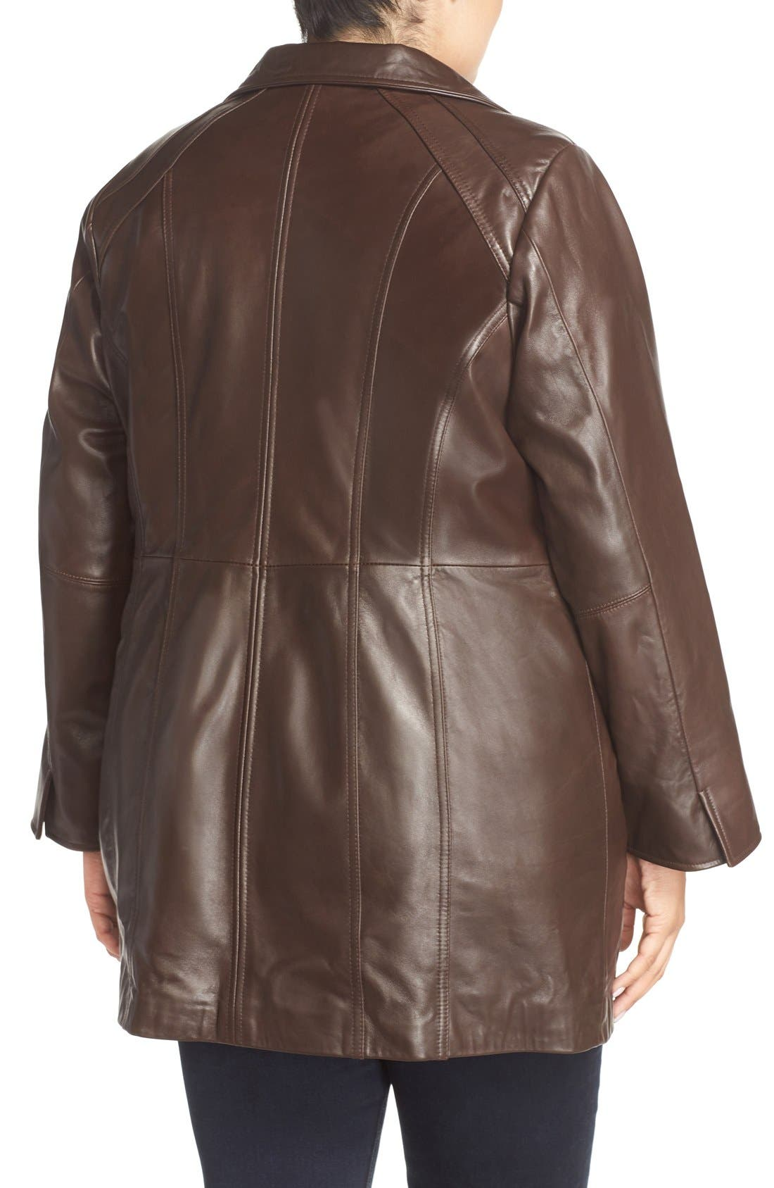 Alternate Image 2  - Ellen Tracy Leather Walking Coat (Plus Size)