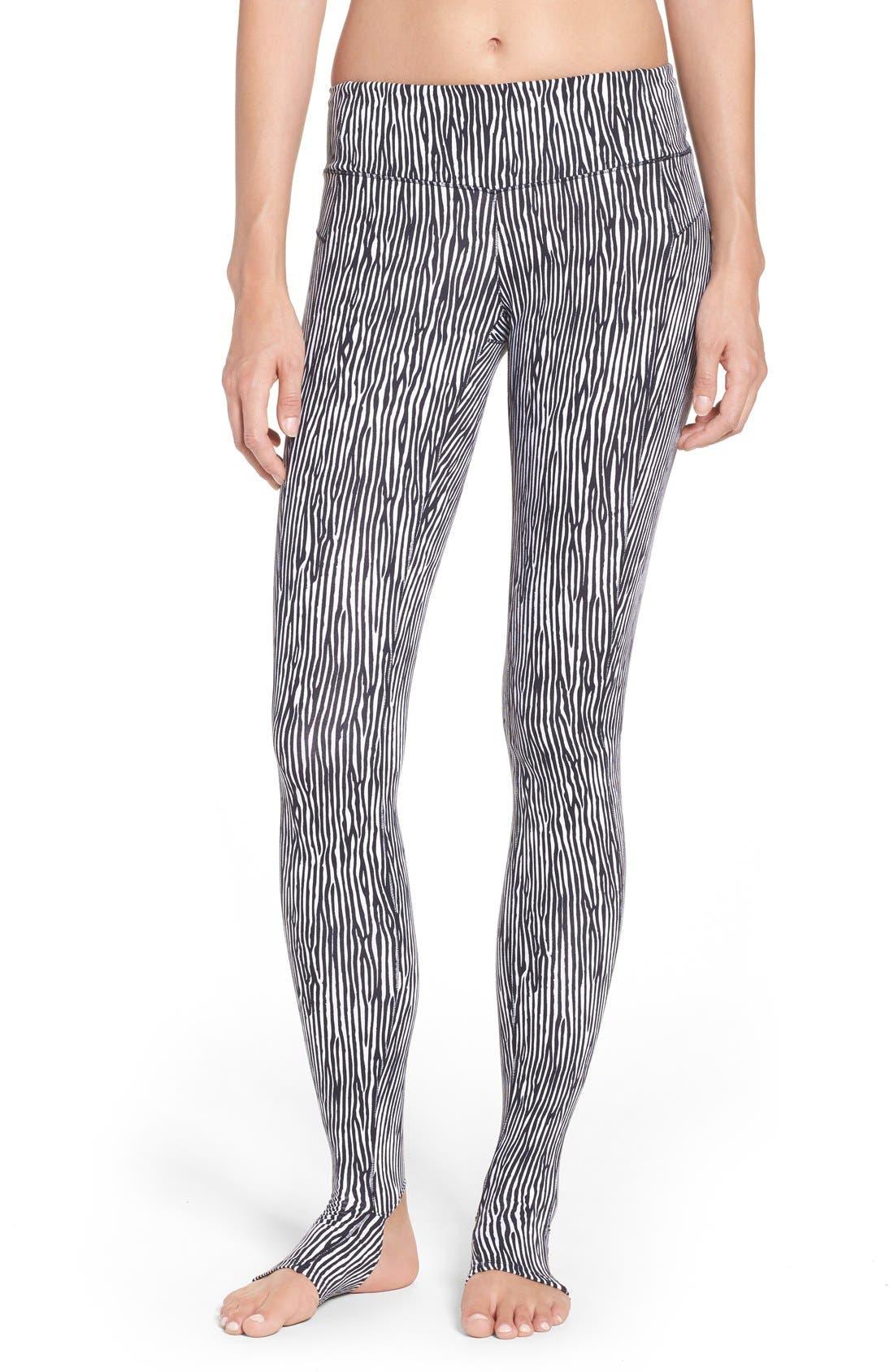 Foiled Stirrup Tights,                         Main,                         color, Black/ White
