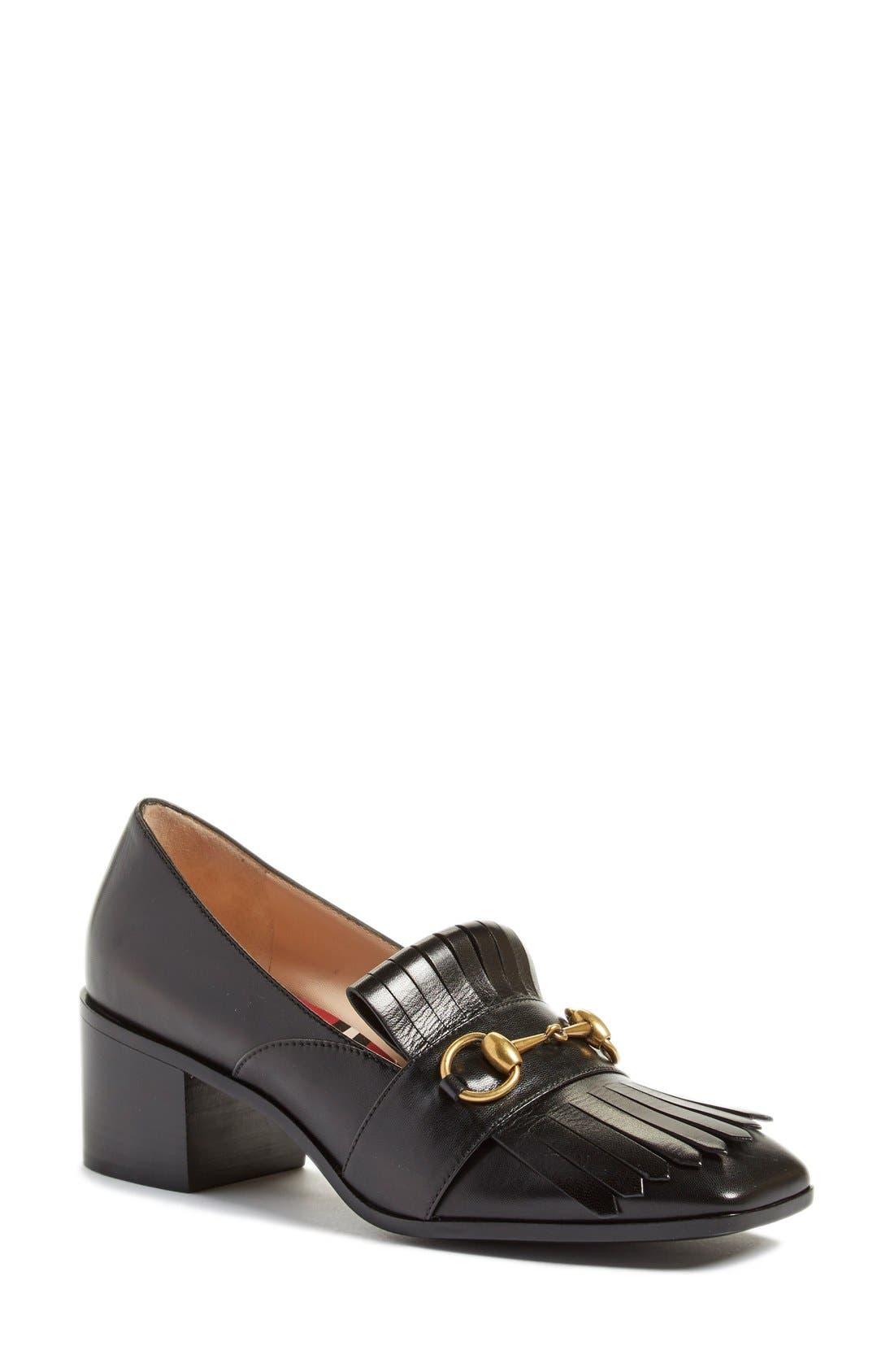 'Polly' Block Heel Pump,                         Main,                         color, Black Leather