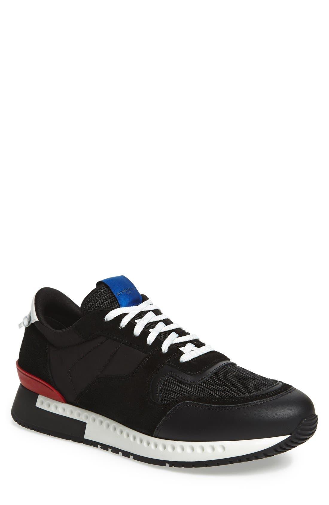 'Active Runner' Sneaker,                             Main thumbnail 1, color,                             Black Nylon/ Suede