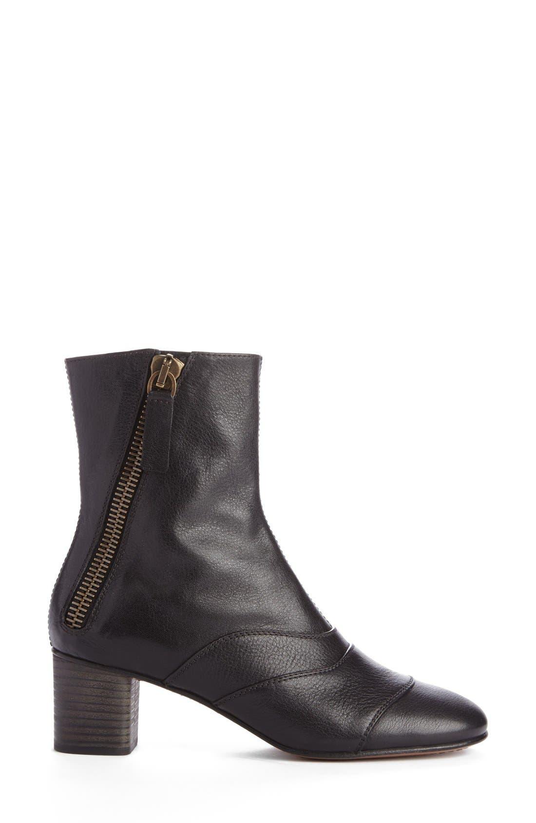 'Lexie' Block Heel Boot,                             Alternate thumbnail 4, color,                             Black Leather