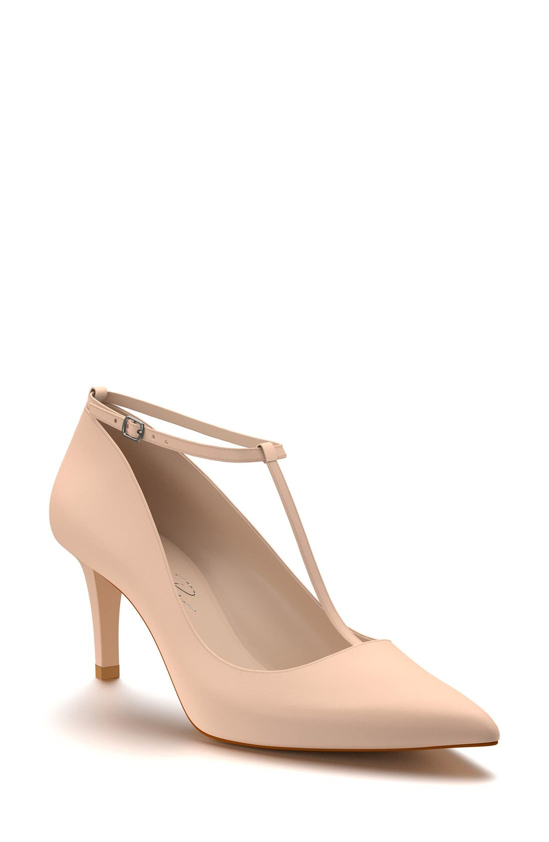 T-Strap Pump,                             Main thumbnail 1, color,                             Blush Leather