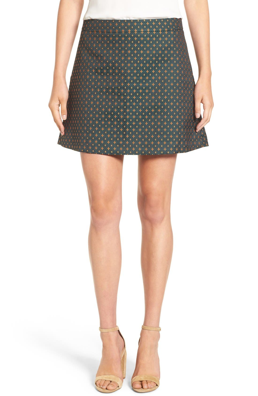 Jacquard A-Line Skirt,                             Main thumbnail 1, color,                             Green Mosaic Jacquard