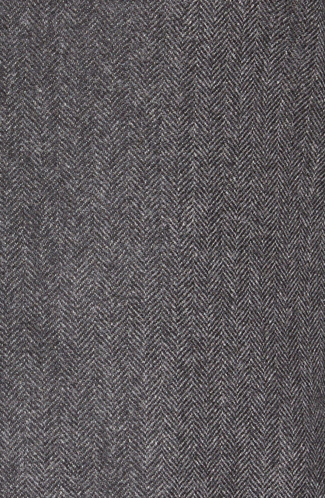 Beckett Classic Fit Herringbone Cashmere Sport Coat,                             Alternate thumbnail 5, color,                             Charcoal