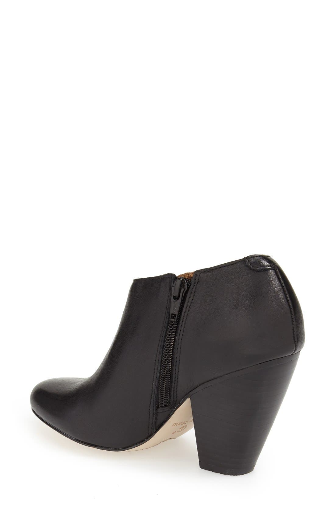 'Yonkers' Almond Toe Cutout Bootie,                             Alternate thumbnail 2, color,                             Black Leather