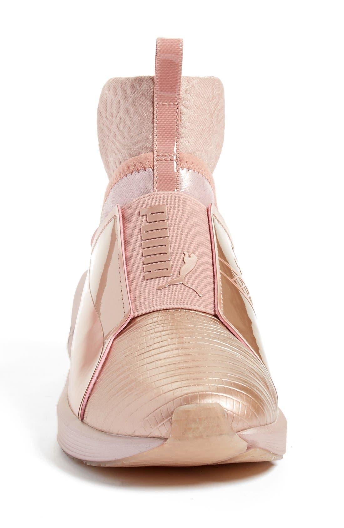 Fierce Metallic High Top Sneaker,                             Alternate thumbnail 3, color,                             Rose Gold