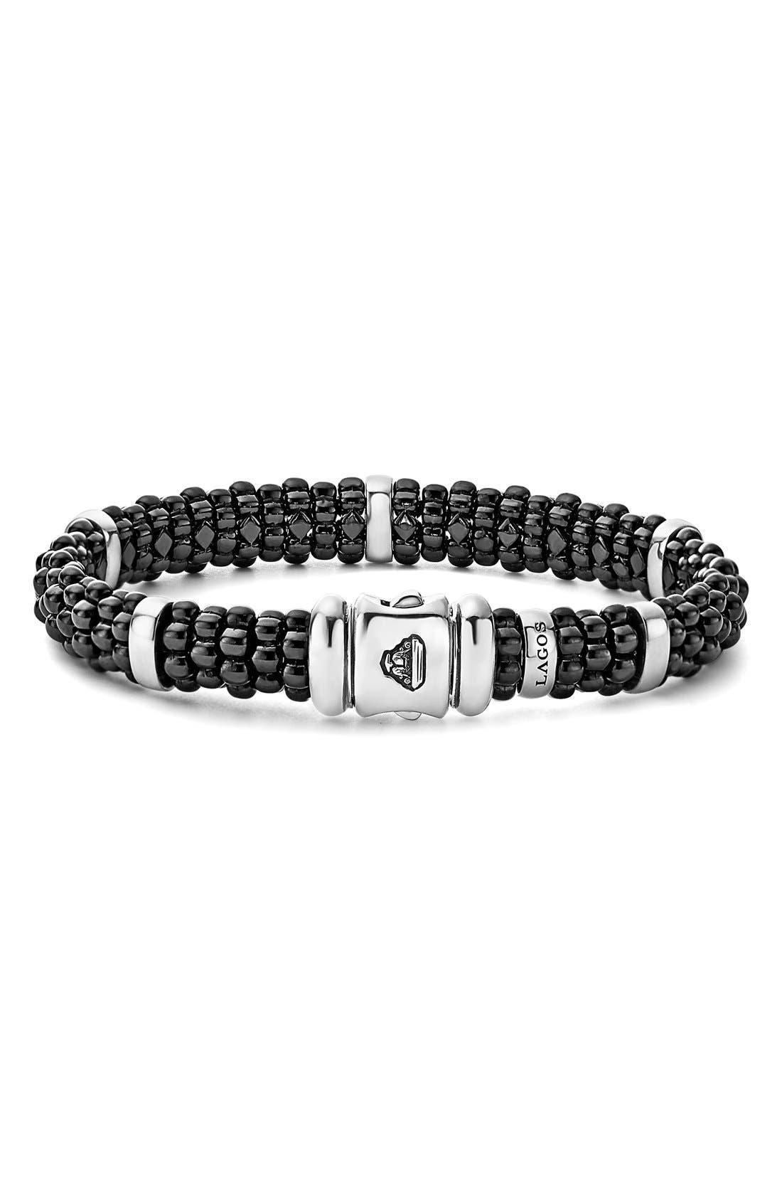 Black Caviar Station Bracelet,                             Alternate thumbnail 3, color,                             Black/ Silver/ Gold