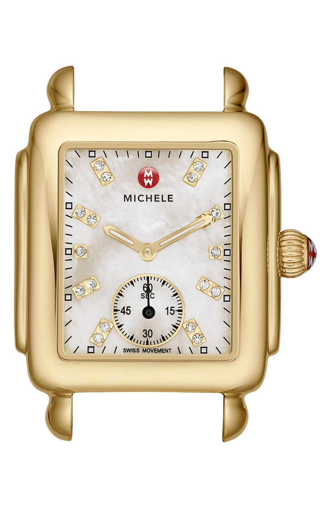 Deco 16 Diamond Dial Gold Watch Head, 29mm x 31mm,                             Main thumbnail 1, color,                             Gold