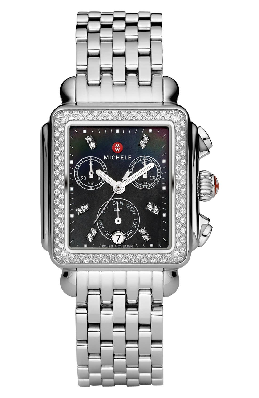 Deco Diamond Diamond Dial Watch Case, 33mm x 35mm,                             Alternate thumbnail 2, color,                             Silver/ Black