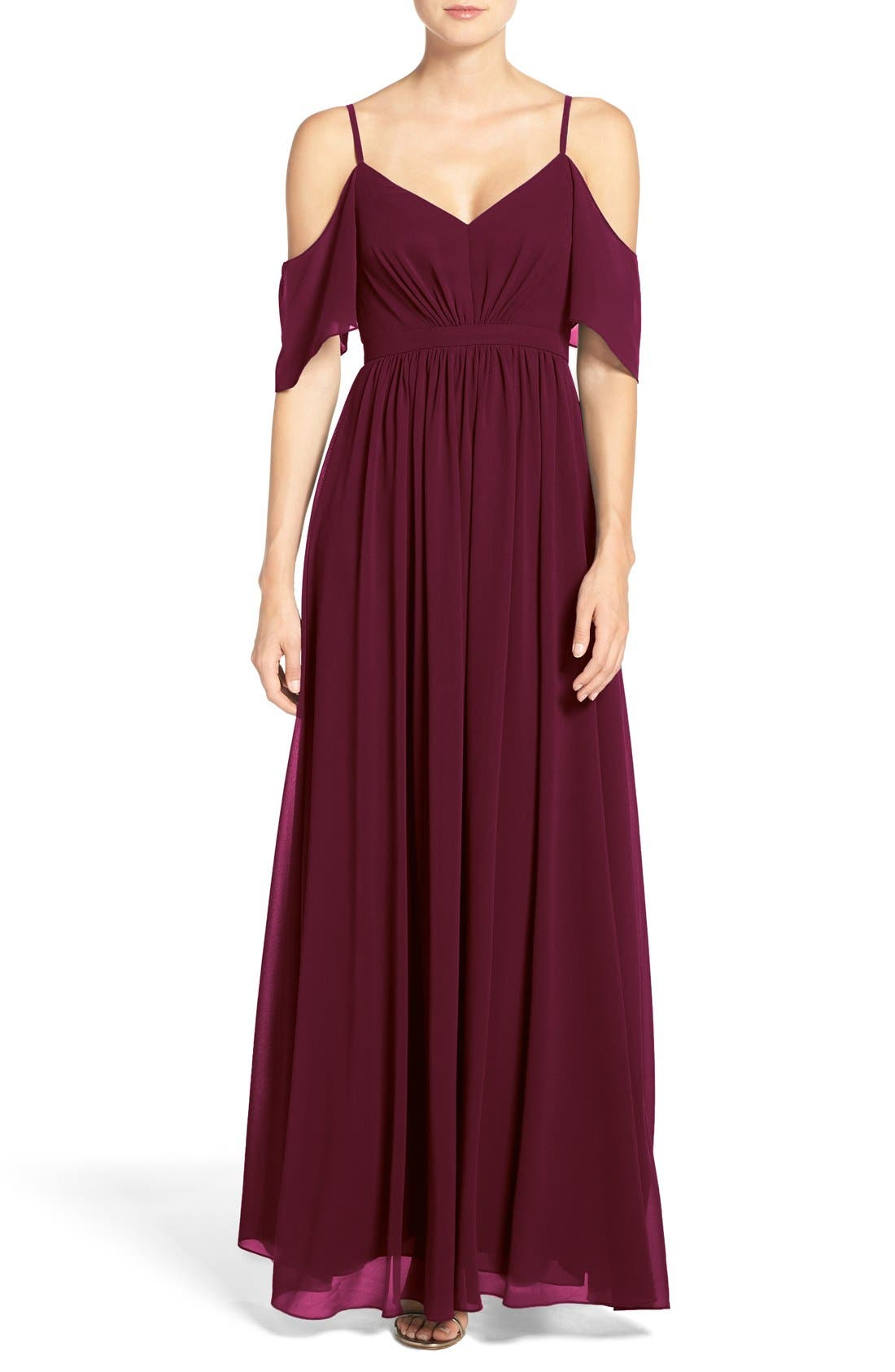 Alternate Image 1 Selected - Lulu's Off the Shoulder Chiffon Gown