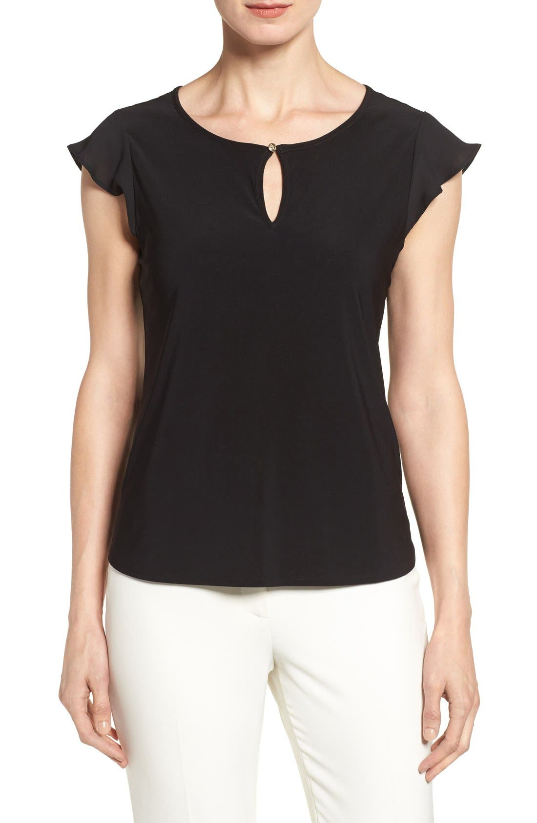 Alternate Image 1 Selected - CeCe Flutter Sleeve Keyhole Neck Top