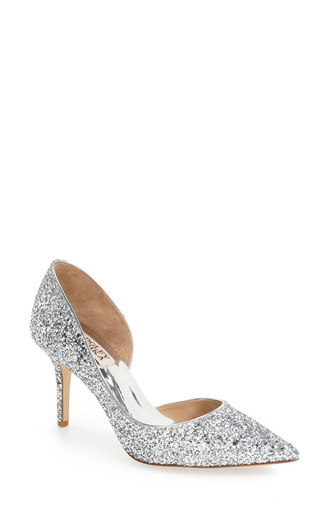 'Daisy' Embellished Pointy Toe Pump,                             Main thumbnail 1, color,                             Silver Glitter Fabric