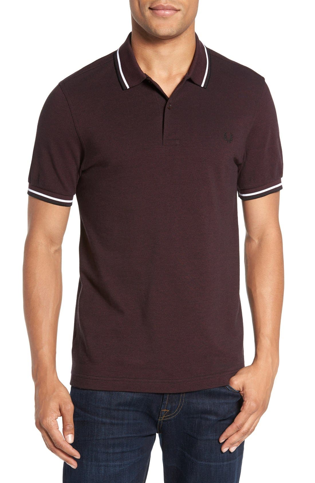 Extra Trim Fit Twin Tipped Piqué Polo,                         Main,                         color, Mahogany/ Black