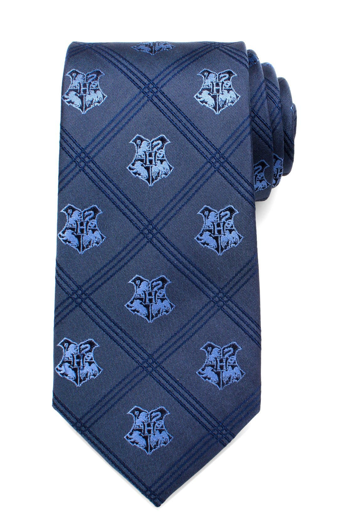 'Hogwarts' Silk Tie,                             Main thumbnail 1, color,                             Blue