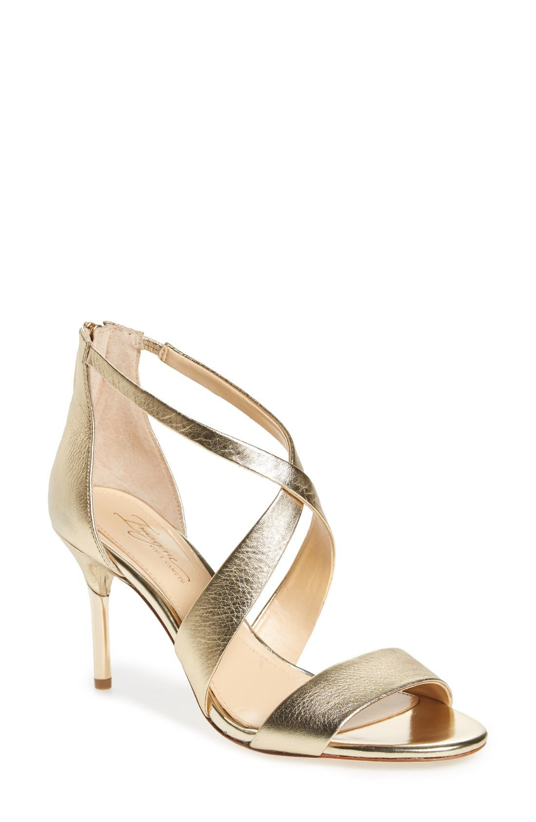 'Pascal 2' Strappy Evening Sandal,                             Main thumbnail 1, color,                             Soft Gold Leather