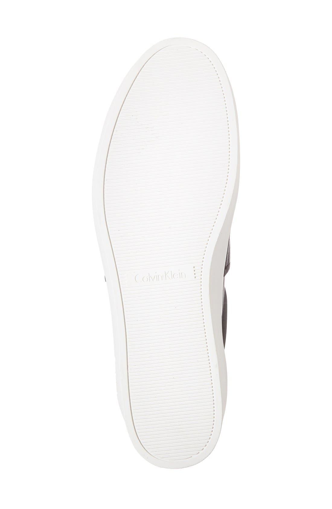 'Jaiden' Platform Sneaker,                             Alternate thumbnail 4, color,                             Black Leather