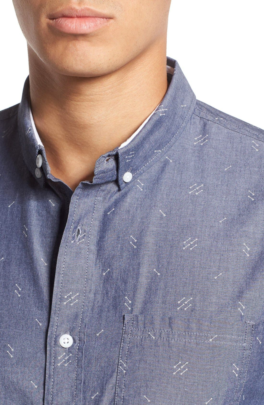 'Baker' Slim Fit Arrow Print Woven Shirt,                             Alternate thumbnail 4, color,                             Navy Iris Arrows Print