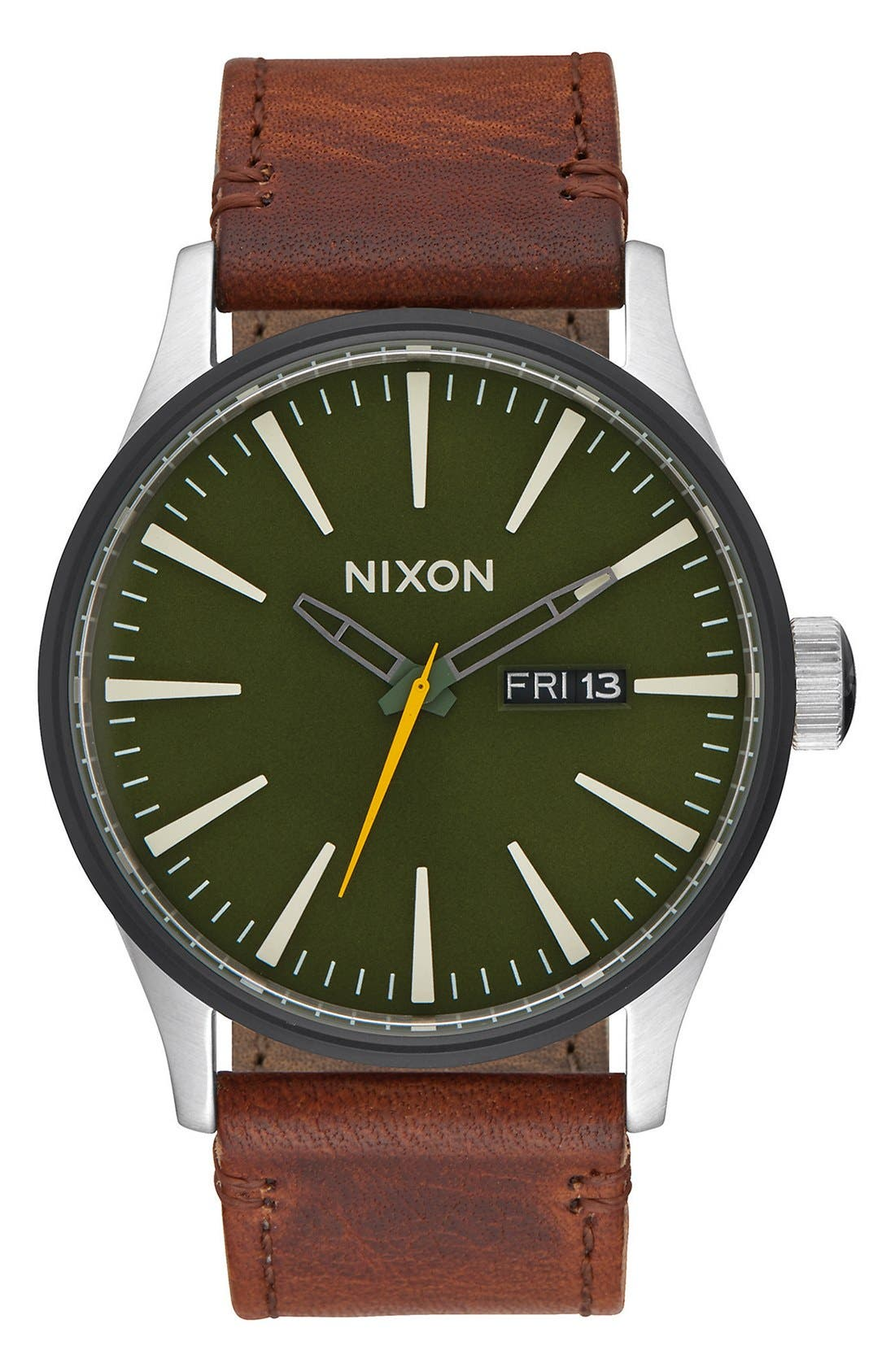 'The Sentry' Leather Strap Watch, 42mm,                             Main thumbnail 1, color,                             Brown/ Green