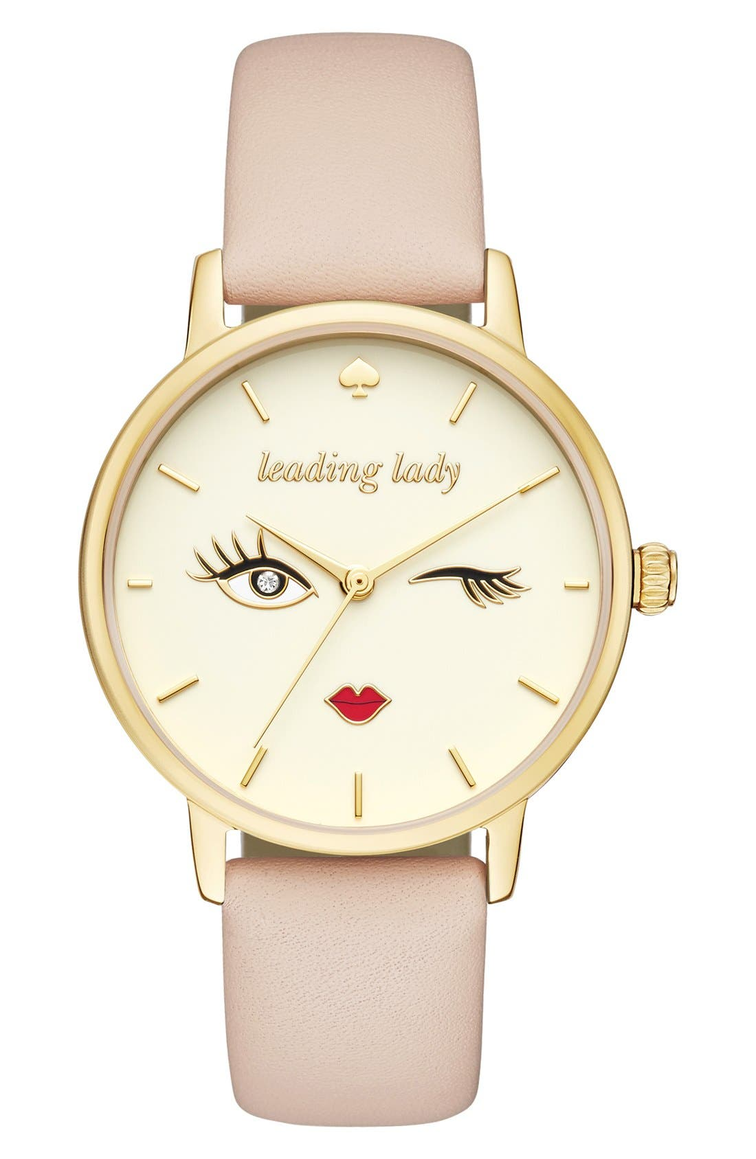 kate spade new york 'metro - wink' round leather strap watch, 34mm